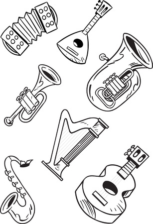 brass band: The illustration shows some string and wind musical instruments. Illustration done on separate layers, black contour, isolated on white background Illustration