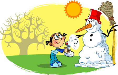 refrigerate: The illustration shows a child, who is trying to refrigerate the fan snowman on a warm spring day Illustration