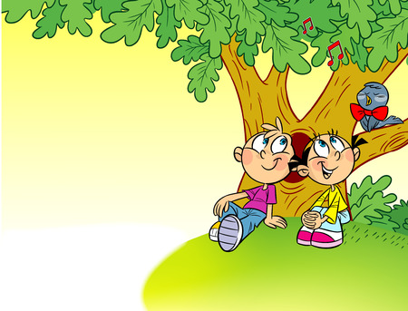 place for children: The illustration shows a girl and a boy on summer vacations. Children sit under a tree on the nature and listen to the sings nightingale. Illustration done in cartoon style on separate layers there is a place for text