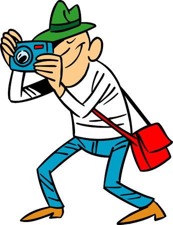 The illustration shows a funny cartoon photographer with camera in hand. Illustration done isolated on white background.