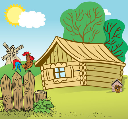 countrified: The illustration shows the countrified house and yard. Illustration