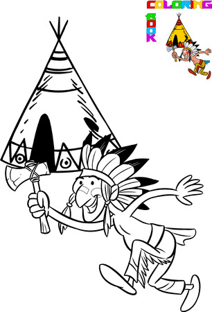 wigwam: The illustration shows the cartoon Indian with ax in hand on the background of the wigwam. Illustration made in black outline for coloring book on separate layers. Illustration