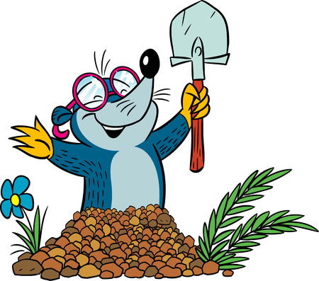 The illustration shows cartoon funny mole with a shovel that digs dwelling in the soil Illustration