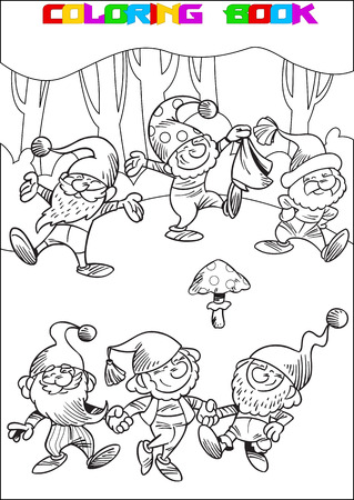 The illustration shows a few funny gnomes in the woods. They play and dance in a circle. Illustration made in black outline for coloring book on separate layers.