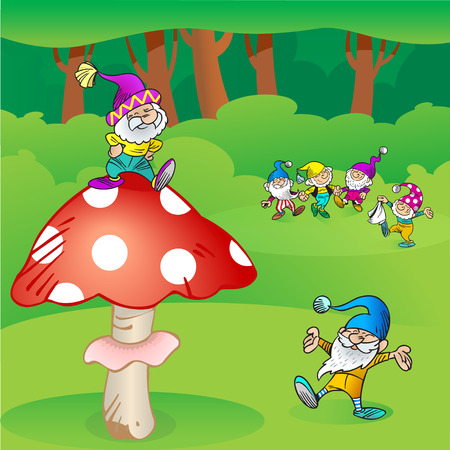 gnomes: The illustration shows a few funny gnomes in the woods. They play and dance in a circle. Illustration done in cartoon style on separate layers.