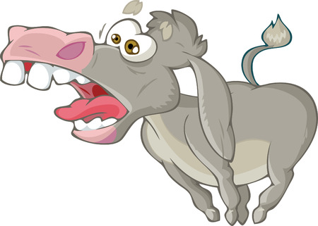 The illustration shows a cartoon donkey that screams. Illustration made isolated on white background.