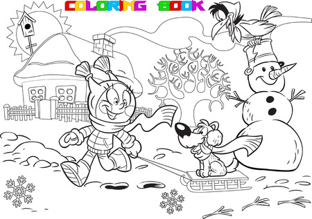 sledge dog: The illustration shows a kid during the winter holidays. Girl playing in the yard with a dog and a snowman. Illustration done in cartoon style black outline for coloring book Illustration