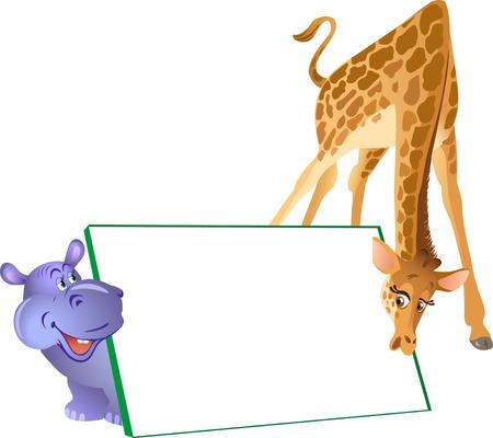 caricaturas de animales: La ilustración muestra caricatura hipopótamo y la jirafa en el fondo del cartel. Ilustración realizada en capas separadas aisladas sobre un fondo blanco tiene sitio para el texto.