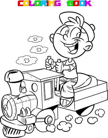 machinist: The illustration shows a boy who plays in engineer a toy locomotive. Illustration made with black contour isolated on white background for coloring book.