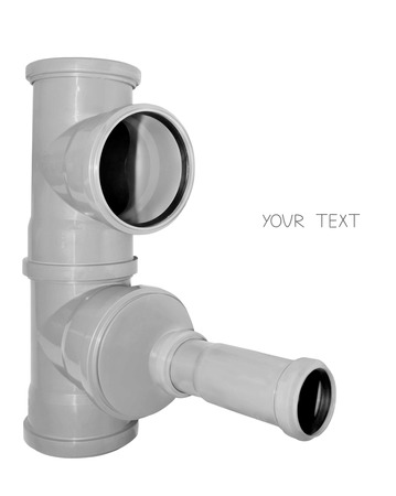 sewer pipe: The picture shows the element of sewer pipe. Isolated on white background, there is a place for a textual unit.