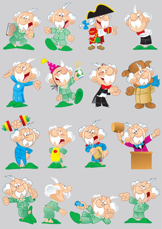 old person: The illustration shows a number of poses of a elderly grandfather in different clothes and lifestyle, with a variety of emotions and objects. Illustration done in cartoon style isolated on gray background, on separate layers.