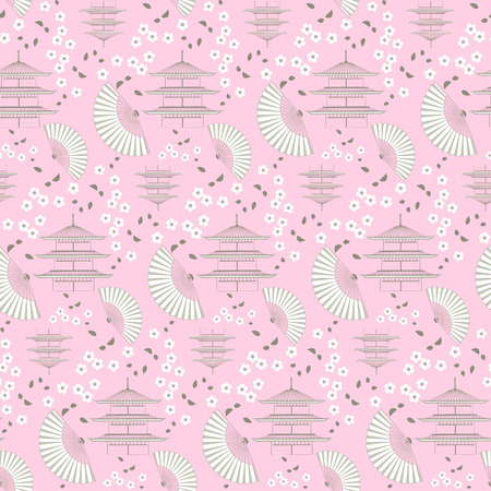 colour fan: The illustration shows the pattern with a set of various Japanese symbols. The pattern consists of a pagodas, fan and blossoming branch cherry. It made a vector seamless.