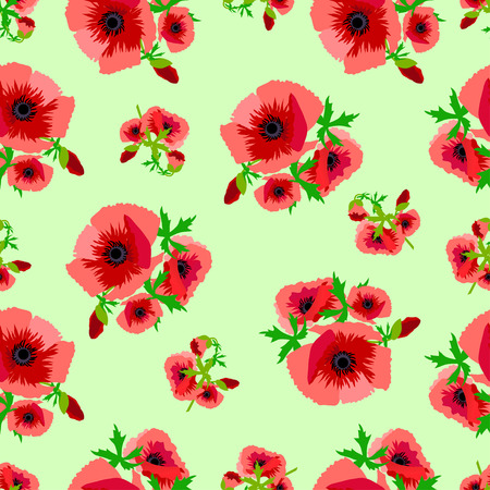 poppy pattern: The illustration shows the seamless pattern with flower bouquets of red poppies on separate layers.