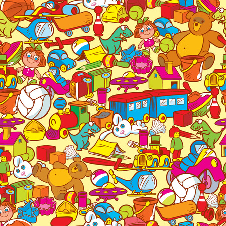 small group of object: The illustration shows a vector pattern with lots of different toys. The is made seamless pattern, objects on separate layers. Illustration