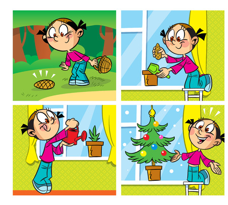 lump: The illustration shows a comic about how the girl found a lump in the woods and raised in the home potted Christmas tree. Illustration done in cartoon style, on separate layers. Illustration
