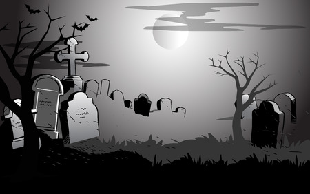 cemetery: The illustration shows view of the cemetery at night. Symbolic background presented to the Halloween holiday, on separate layers. Illustration
