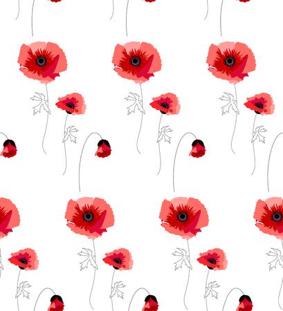 poppy: La ilustración muestra un patrón con amapolas rojas Vectores