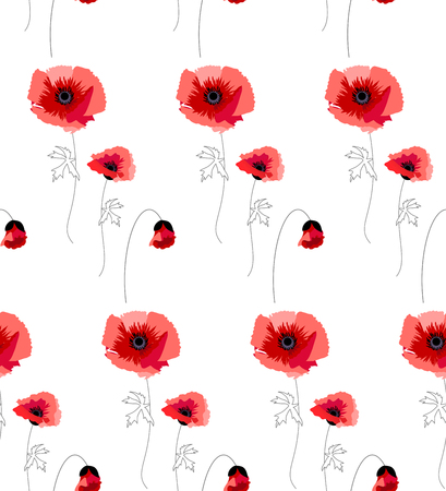 buds: The illustration shows a seamless pattern with red poppies Illustration