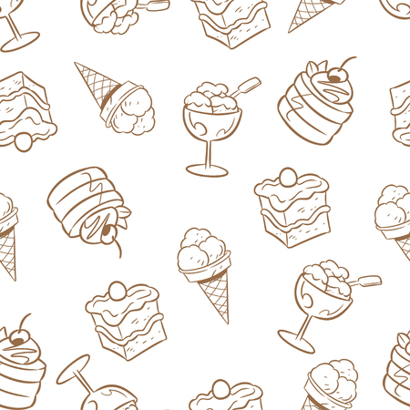 achieved: The illustration patterns with various kinds of sweet goods and baking, as well as ice cream. Achieved on separate layers.