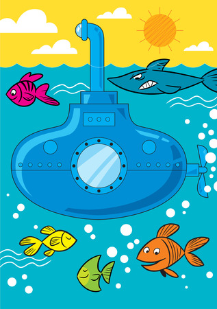cartoon submarine: The illustration shows cartoon submarine at sea.