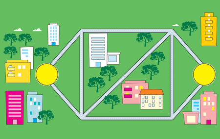 avenue: The illustration shows a diagram of the streets and part of the road, against the backdrop of the buildings and trees. Illustration done in cartoon style.