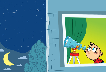 looking away: The illustration shows a young astronomer who observes from the window of the stars through a telescope Illustration