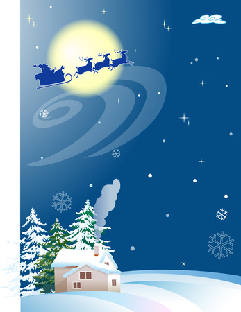 The illustration shows how Santa Claus on Christmas Eve in a reindeer sleigh racing on the background the starry sky. Down below can see a winter landscape with a dwelling house and trees. Illustration made in the form of postcards, on separate layers, th
