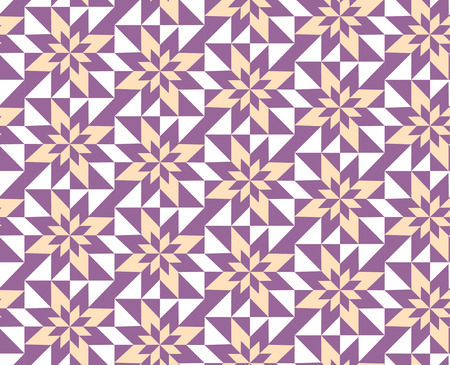 florets: seamless geometric pattern of yellow and purple florets