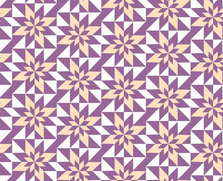 muster: seamless geometric pattern of yellow and purple florets