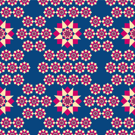 muster: the illustration shows the seamless geometric pattern red, yellow squares and stars on a blue background.