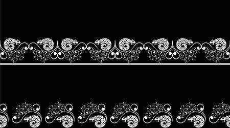 silhouette fleur: L'illustration montre un motif transparent avec les plantes et le caméléon. Illustration vectorielle réalisée en silhouette noir et blanc