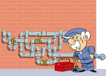 tube wrench: The illustration shows the cartoon elderly plumber in overalls near the water pipe. He stands against the backdrop of a brick wall with a wrench in his hand. Illustration