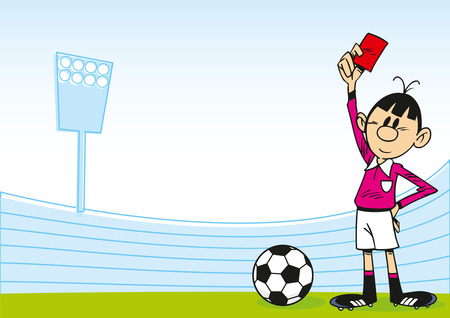 The illustration shows a cartoon of an arbitrator on the football field, which holds the red card in his hand Illustration