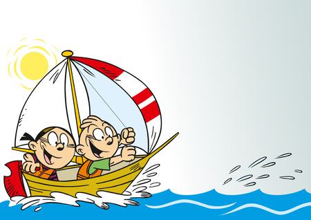 small boat: The illustration shows cartoon boy and a girl in a boat, which floats on water. They relax and have fun. Illustration