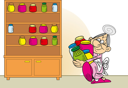 canned goods: The illustration shows grandmother in an apron, she is puts in the cupboard canned goods