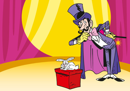 illusionist: The illustration shows an illusionist, which shows the tricks with rabbit in the circus Illustration