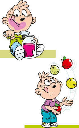 Sugar apple: The illustration shows a boy who eats jam from the jar and playing with apples. Illustration done in cartoon style, isolated on white background on separate layers.