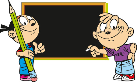 cartoon school girl: The illustration shows a boy and a girl on the background of the school board. Illustration done in cartoon style.