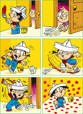 cartoon emotions: The illustration shows a funny cartoon about a girl who is engaged in repair in the room. Illustration done in cartoon style, on separate layers.