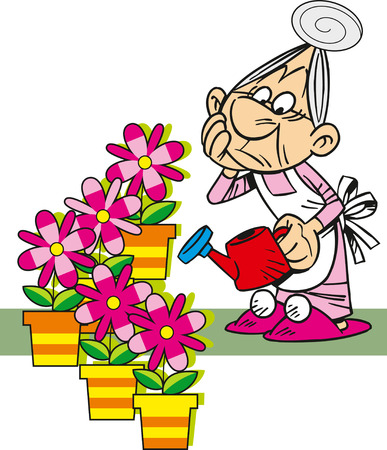 family gardening: The illustration shows grandmother, who is watering the potted flowers. Illustration done in cartoon style, isolated on white background on separate layers. Illustration