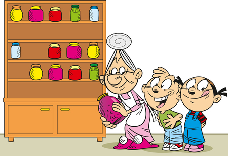 canned goods: The illustration shows grandmother in an apron, she is puts in the cupboard canned goods and jam for the grandchildren