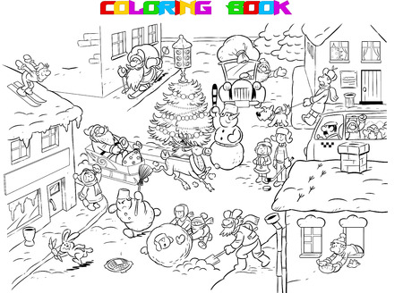The illustration shows the festive city before Christmas. Santa Claus in a hurry for the holidays with gifts. A beautiful Christmas tree stands in the street, and around the children play. Illustration done on separate layers, in black and white contour