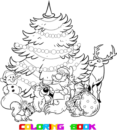 holiday gifts: The illustration shows the snowman and Santa Claus, who reads the list of holiday gifts for animals on the background of Christmas tree. Illustration done on separate layers, in black and white contour