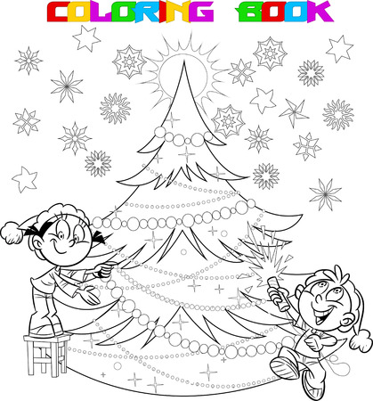 white christmas tree: In the illustration, the children decorate the Christmas tree.The boy in the hands of party poppers. Illustration done in cartoon style, on separate layers. In black and white contour