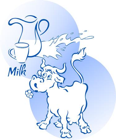 vacas lecheras: Vaca divertida con una jarra y una taza de leche, en el estilo de dibujos animados, en capas separadas. Vectores