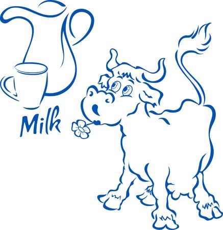 vacas lecheras: Vaca divertida con una jarra y una taza de leche, en el estilo de dibujos animados, en capas separadas, aisladas sobre fondo blanco. Vectores