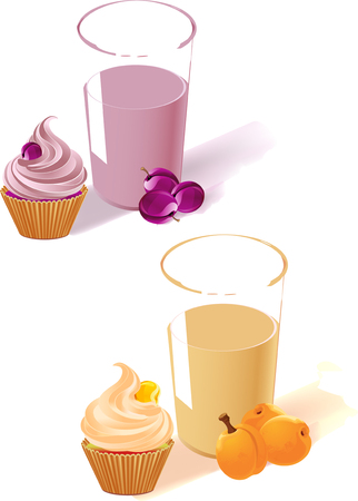 fruit cake: The illustration shows the plum and apricot yogurt in a glass, fruit and cake. Made isolated on white background, on separate layers.