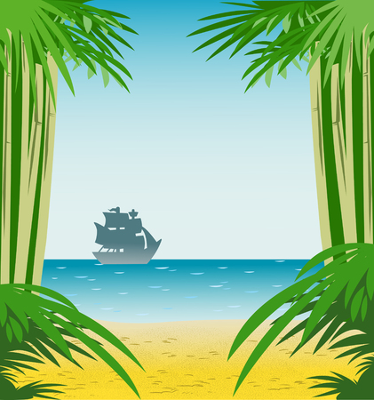 The illustration of the sea with sandy shore, far away is a sailboat silhouette. On separate layers as background.