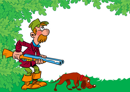 dog walking: The illustration shows a male hunter with a shotgun and a dog on the background of foliage in a cartoon style, there is a place for text Illustration