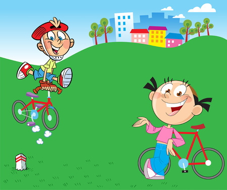 go for: Boy and girl go for a drive on bicycles in the countryside
